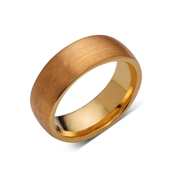 Yellow Gold Brushed -  Tungsten Wedding Band - Brushed Ring - 8mm Mens Band - Engagement Ring - Unisex - Tungsten Band - LUXURY BANDS LA