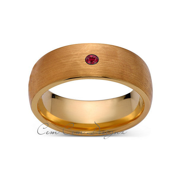 8mm,Mens,Red Ruby,Brushed,Yellow Gold,Tungsten Ring,Yellow Gold,Birthstone,Wedding Band,Comfort Fit - LUXURY BANDS LA
