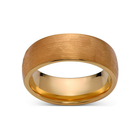 8mm,New,Unique,Brushed Yellow Gold,,Tungsten Rings,Wedding Band,Unisex,Comfort Fit - LUXURY BANDS LA
