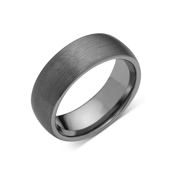 Gray Brushed Tungsten Ring - Dome Shaped - Gunmetal - 8mm - Engagement Ring - LUXURY BANDS LA