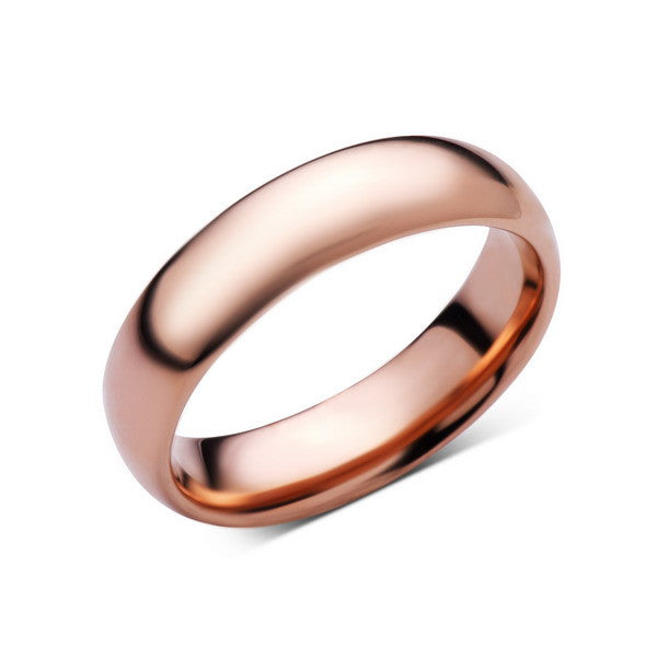Rose Gold Tungsten Wedding Band - Rose Gold High Polish Tungsten Ring - 6mm - Dome - Tungsten Carbide - Engagement Band - Comfort Fit - LUXURY BANDS LA