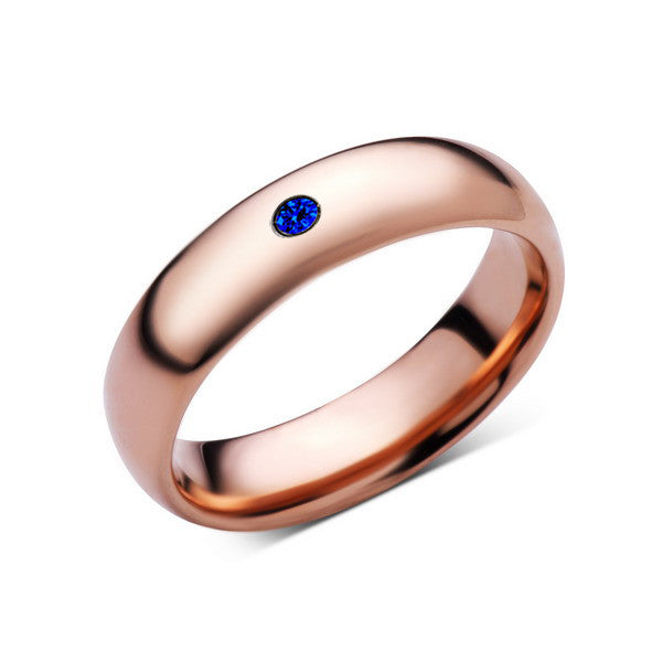 6mm,Mens,Blue Sapphire,Rose Gold,Tungsten Ring,Rose Gold,Wedding Band,Comfort Fit - LUXURY BANDS LA