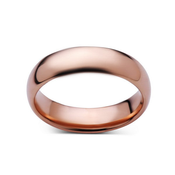 6mm,New,Unique,High Polished, Rose Gold,,Rose,Tungsten RIng,Wedding Band,His,Hers,Comfort Fit - LUXURY BANDS LA