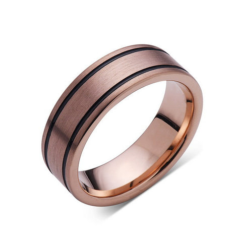 8mm,New,Unique,Rose Brushed,Rose Gold, Black Grooves,Tungsten Ring,Mens Wedding Band,Comfort Fit - LUXURY BANDS LA