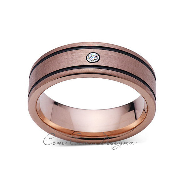 8mm,New,Diamond,Rose Brushed,Rose Gold,Black Grooves,Tungsten Ring,Mens Wedding Band,Comfort Fit - LUXURY BANDS LA