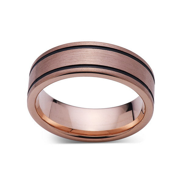 Rose Gold Tungsten Wedding Band - Black Grooves - Pipe Cut - Brushed Rose Gold Tungsten Ring - 8mm - Mens Ring - Tungsten Carbide - Comfort Fit