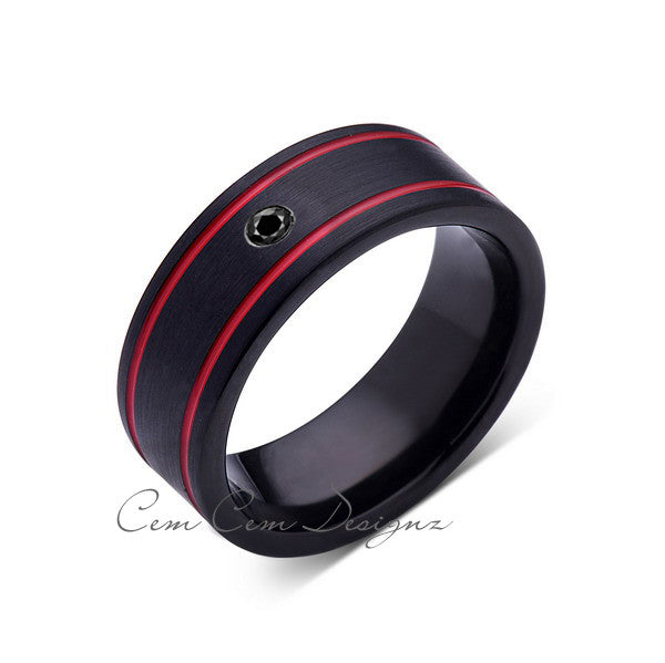 8mm,Mens Black Diamond Ring,Black Brushed, Red Grooves,Tungsten Ring,,Wedding Band,Red,Comfort Fit - LUXURY BANDS LA