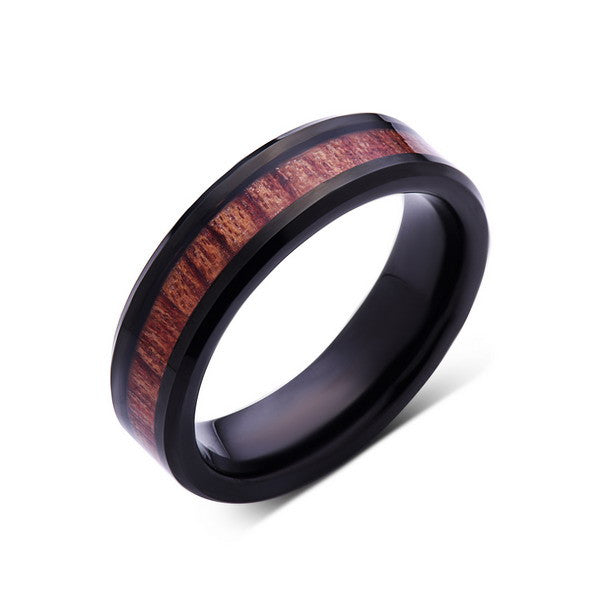 Koa Wood Wedding Ring - Black Tungsten Band - Hawaiian Koa Wood - 6mm - Mens - Comfort Fit - LUXURY BANDS LA