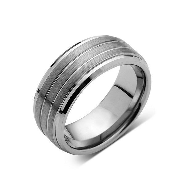 Gray Brushed Tungsten Ring - Pipe Cut - Setpped - Gunmetal - 8mm - Engagement Band - LUXURY BANDS LA