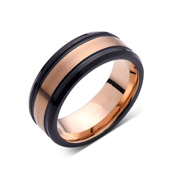 Rose Gold Tungsten Wedding Band - Brushed Ring - Black Wedding Band - 8mm Ring - Unique Engagment Band - Comfort Fit - LUXURY BANDS LA