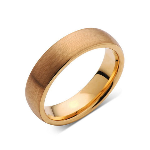 Yellow Gold Brushed -  Tungsten Wedding Band - Brushed Ring - 6mm Bridal Band - Engagement Ring - Unisex - Tungsten Band - LUXURY BANDS LA