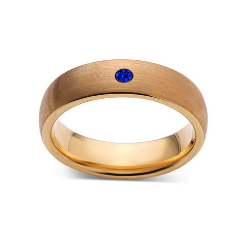6mm,Mens,Blue Sapphire,Brushed,Yellow Gold,Tungsten Ring,Yellow Gold,Wedding Band,Comfort Fit - LUXURY BANDS LA