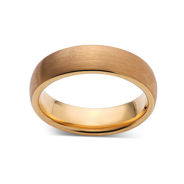 6mm,New,Unique,Brushed Yellow Gold,Tungsten Rings,Wedding Band,Matching,Unisex,Comfort Fit - LUXURY BANDS LA