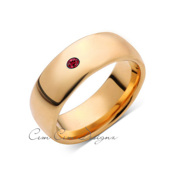 8mm,Mens,Red Ruby,Yellow Gold,Tungsten Ring,Yellow Gold,Birthstone,Wedding Band,Comfort Fit - LUXURY BANDS LA