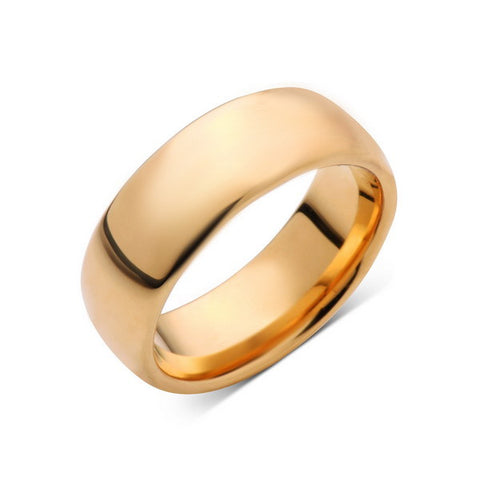 8mm,New,Unique,High Polished, Yellow Gold,,Tungsten RIng,Wedding Band,Unisex,Comfort Fit - LUXURY BANDS LA