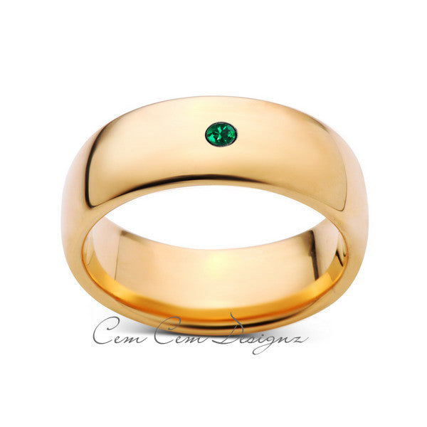 8mm,Mens,Green Emerald,Yellow Gold,Tungsten Ring,Yellow Gold,Birthstone,Wedding Band,Comfort Fit - LUXURY BANDS LA