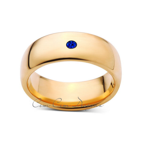 8mm,Mens,Blue Sapphire,Yellow Gold,Tungsten Ring,Yellow Gold,Wedding Band,Comfort Fit - LUXURY BANDS LA