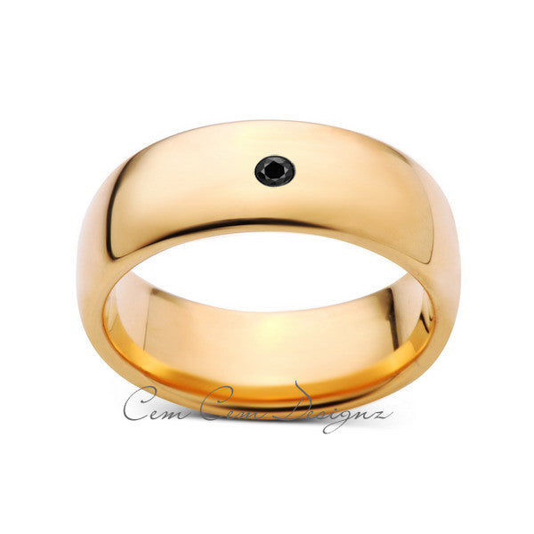 8mm,Mens,Black Diamond,Yellow Gold,Tungsten Ring,Yellow Gold,Wedding Band,Comfort Fit - LUXURY BANDS LA