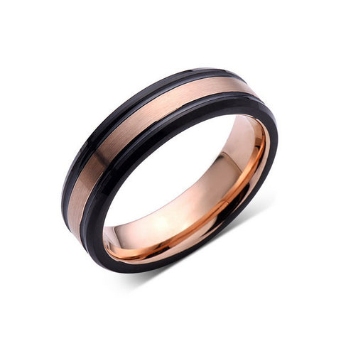 6mm,New,Rose Gold Brushed,Black Edges,Tungsten Ring,Rose Gold,Wedding Band,Comfort Fit - LUXURY BANDS LA