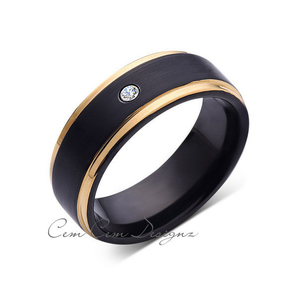 8mm,Mens,Diamond,Yellow Gold,Wedding Band,unique,Black Brushed,Birthstone,Tungsten Ring,Comfort Fit - LUXURY BANDS LA