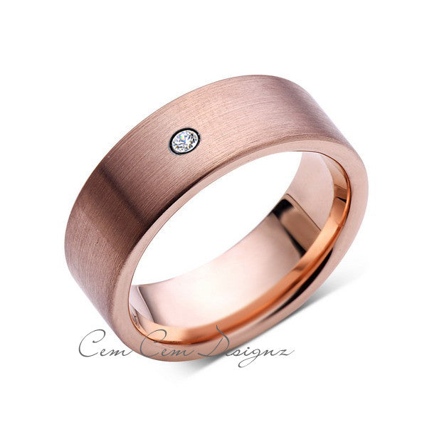 8mm,Mens,Diamond,Brushed,Rose Gold,Wedding Band,unique,Pipe Cut,Tungsten Ring,Comfort Fit - LUXURY BANDS LA