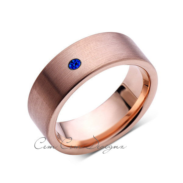 8mm,Mens,Blue Sapphire,Brushed,Rose Gold,Tungsten Ring,Pipe Cut,Wedding Band,Comfort Fit - LUXURY BANDS LA