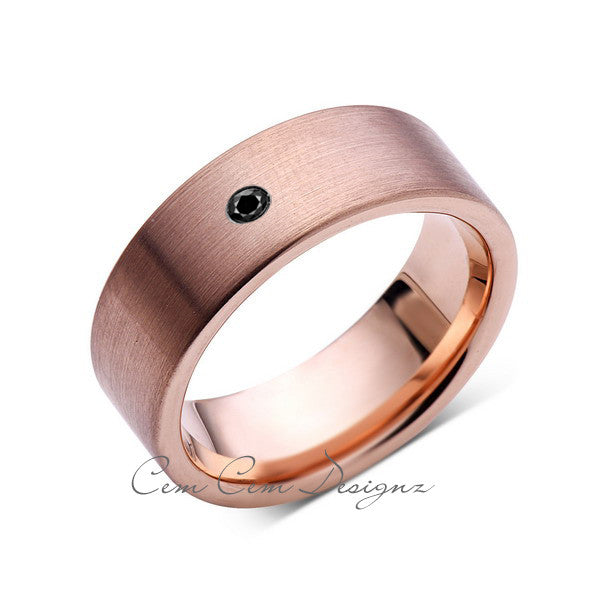 8mm,Mens,Black Diamond,Brushed,Rose Gold,Tungsten Ring,Pipe Cut,Wedding Band,Comfort Fit - LUXURY BANDS LA