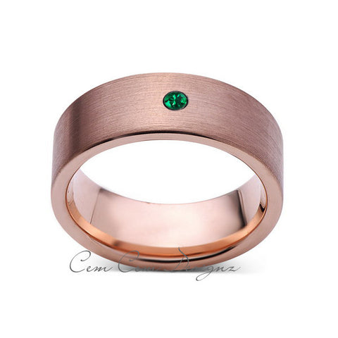 8mm,Mens,Green Emerald,Brushed,Rose Gold,Tungsten Ring,Pipe Cut,Birthstone,Wedding Band,Comfort Fit - LUXURY BANDS LA