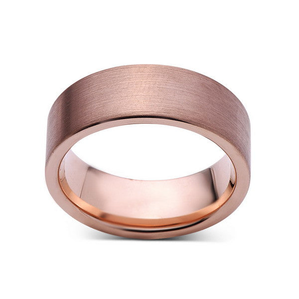 Rose Gold Tungsten Wedding Band - Rose Gold Brushed Tungsten Ring - 8mm - Pipe Cut  - Tungsten Carbide - Engagement Band - Comfort Fit - LUXURY BANDS LA