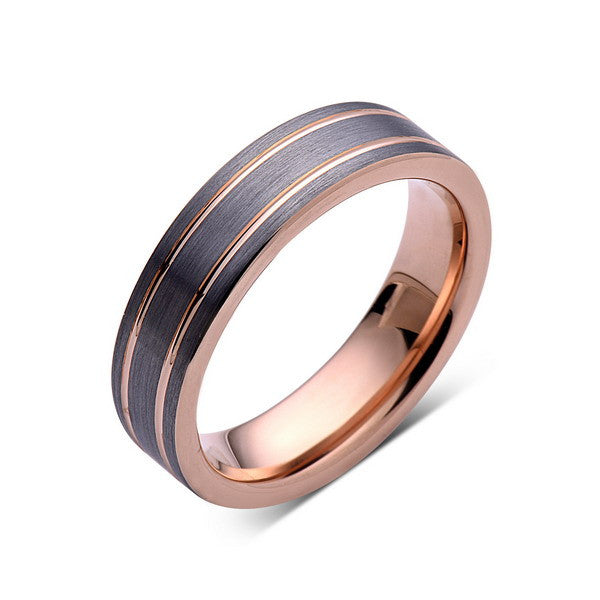 6mm,Unique,Gun Metal,Gray Brushed,Rose Gold Groove,Tungsten RIng,Wedding Band,Unisex Comfort Fit - LUXURY BANDS LA
