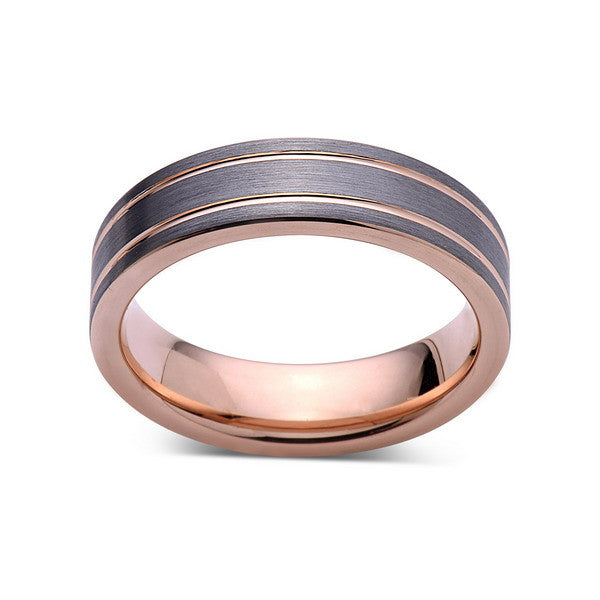 Rose Gold Tungsten Wedding Band - Gray Brushed Tungsten Ring - 6mm - Pipe Cut - Mens Ring - Tungsten Carbide - Engagement Band - Comfort Fit - LUXURY BANDS LA