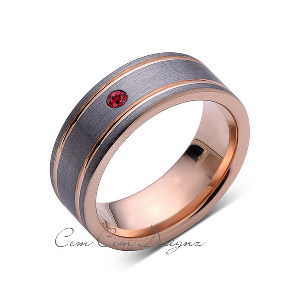 8mm,Mens,Red Ruby,Rose Gold,Wedding Band,unique,Brushed,Birthstone,Tungsten Ring,Comfort Fit - LUXURY BANDS LA
