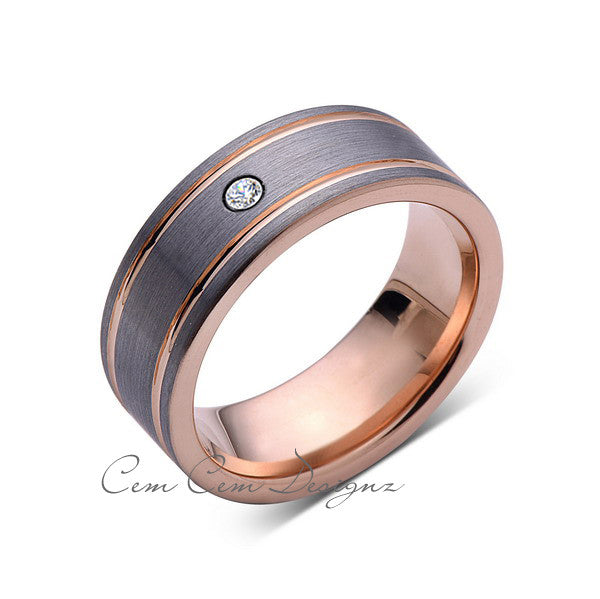 8mm,Mens,Diamond,Rose Gold,Wedding Band,unique,Brushed,Rose Gold,Tungsten Ring,Comfort Fit - LUXURY BANDS LA