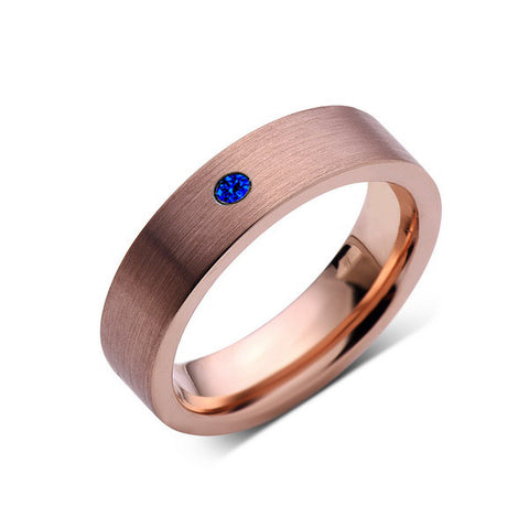 6mm,Mens,Blue Sapphire,Brushed,Rose Gold,Tungsten Ring,Pipe Cut,Wedding Band,Comfort Fit - LUXURY BANDS LA