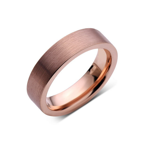 Rose Gold Tungsten Wedding Band - Rose Gold Brushed Tungsten Ring - 6mm - Pipe Cut  - Tungsten Carbide - Engagement Band - Comfort Fit - LUXURY BANDS LA