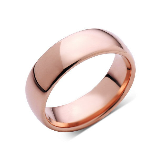 Rose Gold Tungsten Wedding Band - Rose Gold High Polish Tungsten Ring - 8mm - Dome - Tungsten Carbide - Engagement Band - Comfort Fit - LUXURY BANDS LA