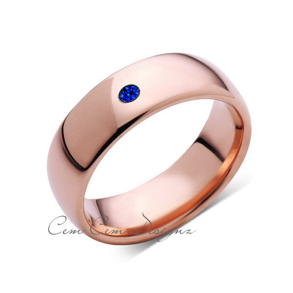 8mm,Mens,Blue Sapphire,Rose Gold,Tungsten Ring,Rose Gold,Wedding Band,Comfort Fit - LUXURY BANDS LA