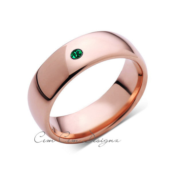 8mm,Mens,Green Emerald,Rose Gold,Tungsten Ring,Rose Gold,Birthstone,Wedding Band,Comfort Fit - LUXURY BANDS LA