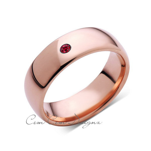 8mm,Mens,Red Ruby,Rose Gold,Tungsten Ring,Rose Gold,Birthstone,Wedding Band,Comfort Fit - LUXURY BANDS LA