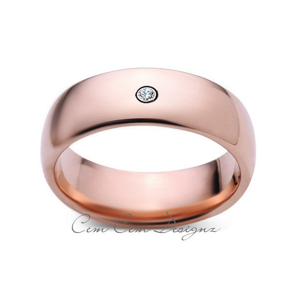 8mm,Mens,Diamond,Rose Gold,Wedding Band,unique,Rose Gold,Tungsten Ring,Comfort Fit - LUXURY BANDS LA
