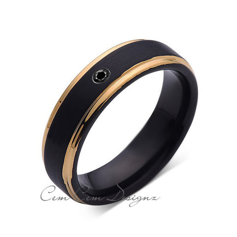 6mm,Mens,Black Diamond Band,Black Brushed,Yellow Gold,Tungsten Ring,Yellow  Gold,Wedding Ring,Comfort Fit - LUXURY BANDS LA