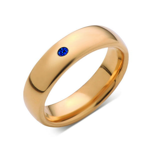 6mm,Mens,Blue Sapphire,Yellow Gold,Tungsten Ring,Yellow Gold,Wedding Band,Comfort Fit - LUXURY BANDS LA