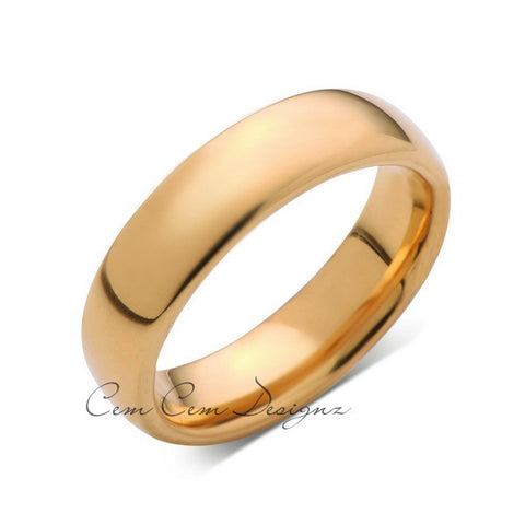 6mm,New,Unique,High Polished, Yellow Gold,Tungsten RIng,Wedding Band,Matching,His,Hers,Comfort Fit - LUXURY BANDS LA