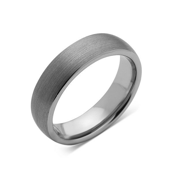 Dome Shaped Bands: Gray Brushed Tungsten Ring
