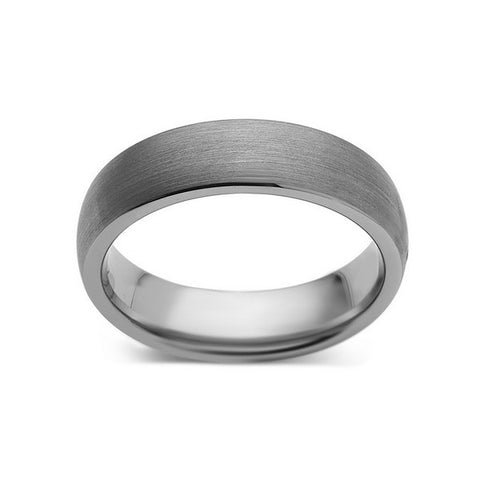 Gray Brushed Tungsten Ring - Dome Shaped - Gunmetal - 6mm - Engagement Ring - LUXURY BANDS LA