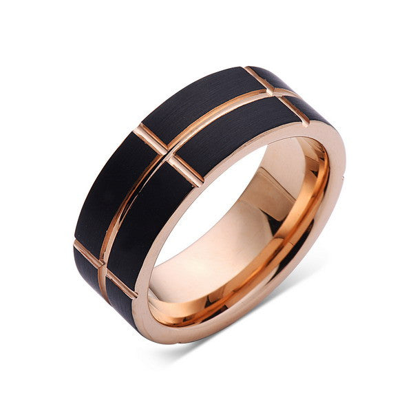 Rose Gold Tungsten Ring - Black Brushed Wedding Band - 8 mm Ring - Unique Engagment Band - Comfort Fit - LUXURY BANDS LA