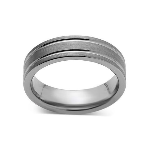 Gray Brushed Tungsten Ring - Pipe Cut - Groove - Gunmetal - 6mm - Engagement Band - LUXURY BANDS LA
