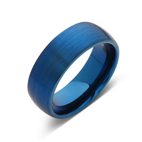 Blue Tungsten Wedding Ring - Blue Brushed Tungsten Band - 8mm - Mens Ring - Tungsten Carbide - Engagement Band - Comfort Fit - LUXURY BANDS LA