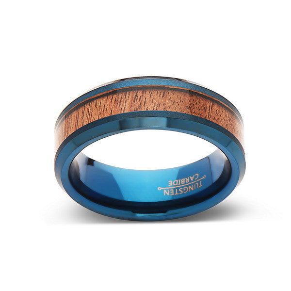 Koa Wood Wedding Ring - Blue Tungsten Band - Hawaiian Koa Wood -8mm - Mens - Comfort Fit - LUXURY BANDS LA
