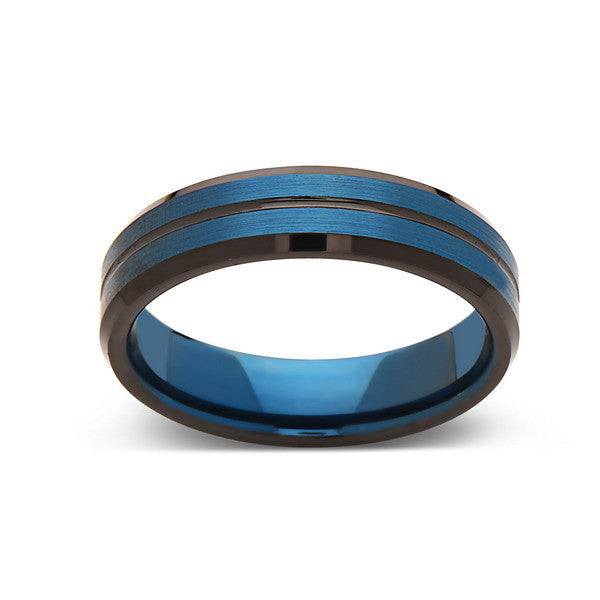Blue Tungsten Wedding Band - Blue Brushed Tungsten Ring - 6mm - Mens Ring - Tungsten Carbide - Engagement Band - Comfort Fit - LUXURY BANDS LA
